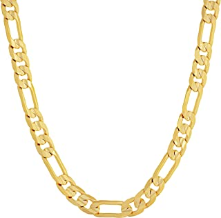 6mm Figaro Chain Necklace for Men & Women 24k Real Gold...
