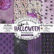 Halloween Bastelpapier Lila Gothic: Scrapbooking Papier & Zubehör I Motivpapier zum Ausschneiden I Mit Letterings I Junk J...