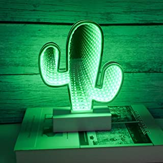 LED Tunnel Infinity Cactus Night Light Lamp, 3D Mirror Battery Operated/USB Cable Light for Birthday Party Wedding Kids Room Living Room Home Garden Christmas Gift -Green