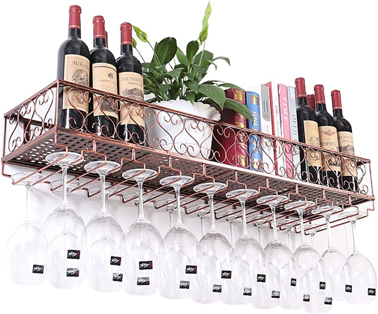 Metal Wine Racks Hanging Wine Glass Holder,Vintage Wine Bottle Holder Rustic Wall Mounted Wine Holder Wine Cooler,Wall Shelf Storage Organizer Rack, Bronze (color   60×25×17CM)