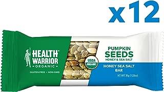 Health Warrior Pumpkin Seed Protein Bars, Honey Sea Salt, 8g Plant Protein, Gluten Free, Certified Organic, 12 Count