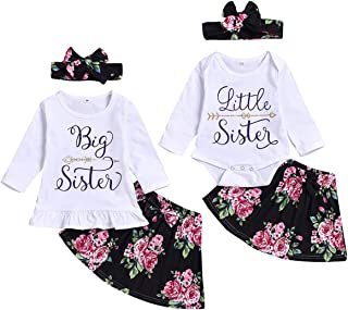 puseky Baby Girls Little Big Sister Matching Outfits Long Sleeve Shirt Floral Skirt Headband Clothes Set