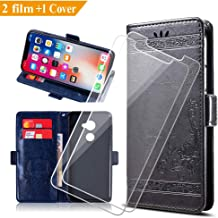 KJYF Wallet Case + 2 x Tempered Glass Screen Protector for Vodafone Smart N8 (5.0