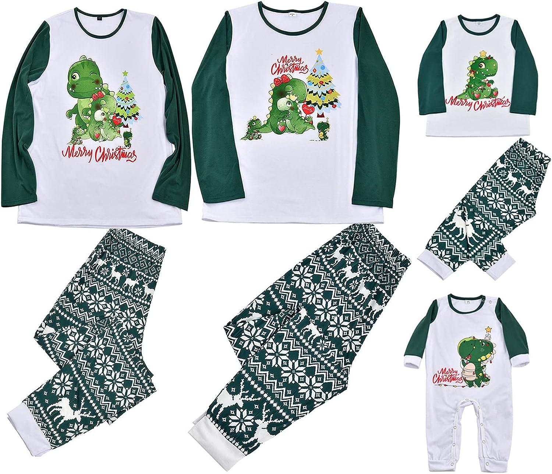 ZiSUGP Christmas Pajamas For Family Xmas Pajamas Pjs Sleepwear Cute Outfits Matching Set(DAD-Green,Size )