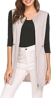 Women's Long Sleeveless Zipper Vest Jacket Collarless Cardigan Blazer