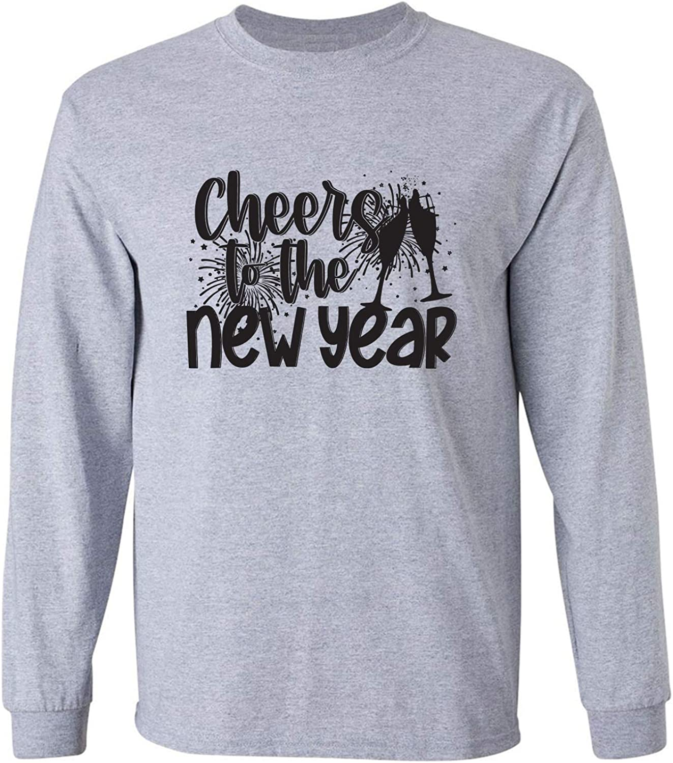 Cheers to The New Year Adult Long Sleeve T in Sport Grey - XXX-Large