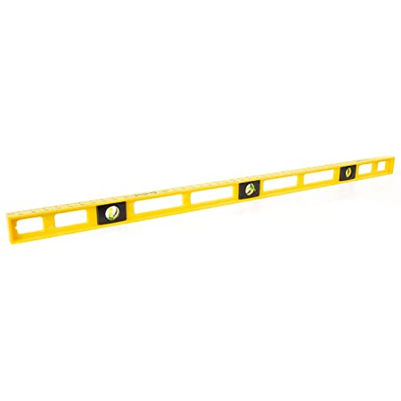 Mayes 10102 48 Inch Polystyrene Level | Carpenter, Contractor, and Plumber Tool | Impact Resistant Frame | Three Vials, Accurate to .001 Inch | Won't Scratch Work Surfaces | Made in the USA