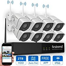 Wireless Security Camera System, Firstrend 8CH 960P Wireless NVR System with 8pcs 1.3MP HD Security Cameras and 2TB Hard Drive Pre-Installed, P2P WiFi Home Security System