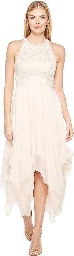 Jacquard Draped Chiffon Dress