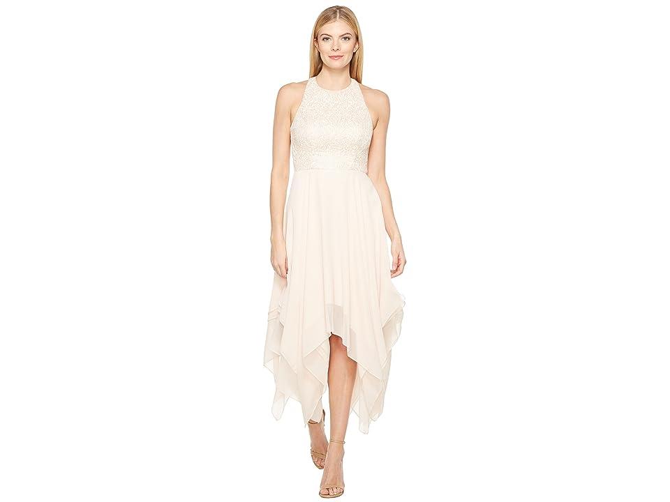 Aidan Mattox Jacquard Draped Chiffon Dress (Petal) Women