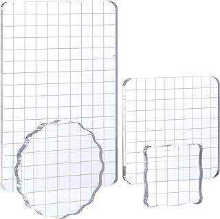 Whaline - Juego de herramientas de estampación con líneas de cuadrícula para manualidades, álbumes de recortes, 4 unidades