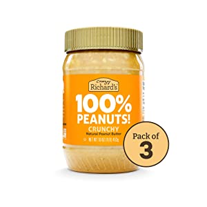 Crazy Richard's - 100% All-Natural Crunchy Peanut Butter, Sugar-Free Peanut Butter Bulk Pack of 3 x 16oz
