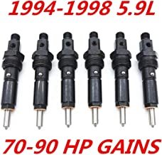 Bosting Fuel Injectors Set Fits for 94 95 96 97 98 Dodge 5.9L Cummins 12V Stage 2: 70-90 HP Gains 12MM Thread Only 154 Degree Spray Pattern Nut Size is 512MM (6Pcs)