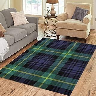 Pinbeam Area Rug Green Abstract Gordon Tartan Plaid Pattern Blue Black Home Decor Floor Rug 3' x 5' Carpet