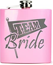E-Volve Hip flask - 6oz - Stainless Steel - Gloss Pink for Special Occasions (Wedding, Sports, Golf, Bridesmaids, Maid of Honour etc.) -