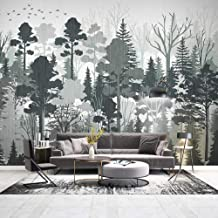 UKWCDSKK Self-adhesive wallpaper Wallpaper Modern Forest Jungle Landscape Wall Painting Living Room TV Sofa Bedroom Home D...