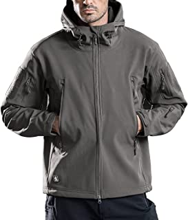 FREE SOLDIER Men's Outdoor Waterproof Soft Shell Hooded Military Tactical Jacket(Gray X-Small)