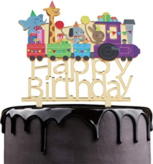 Happy Birthday Cake Topper - Cartoon Animals Theme Party Cake Décor - Baby Shower Boys Girls Birthday Anniversary Party Supplies - Adorable Gold Mirror Acrylic Decorations