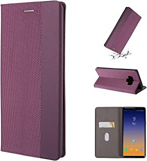 For Galaxy Note 9 Ultrathin Shell Magnetic Horizontal Flip Leather Case with Holder & Card Slots New (Gold) Dualn (Color : Purple)