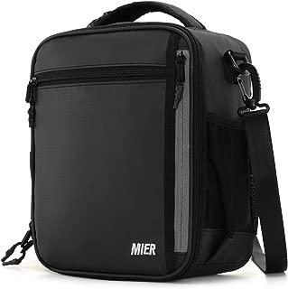 MIER Insulated Lunch Box Bag for Men Women Adult Teen Children, Lunch Cooler Bag with Shoulder Strap and Bottle Holder, 12 Can, Black