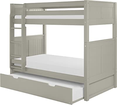 Camaflexi Bunk Bed with Trundle Panel Headboard, Twin, Grey Finish