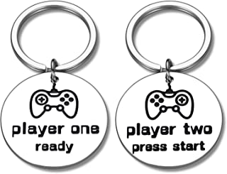 2 PCS Funny Gamer Player 1 Player 2 Matching Keychain Gifts for Couple Boyfriend Keyrings to My Man Husband Fiance Gifts f...
