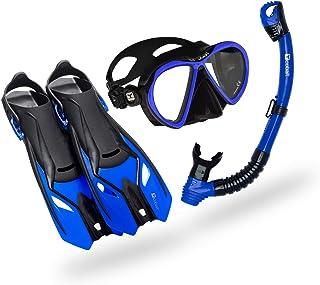 Cobalt Hamoa Snorkel Set - Two Window, Anti-Fog Mask, Dry Top Snorkel, and Adjustable Fins for Snorkeling, Scuba Diving