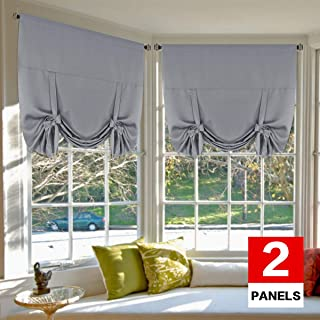H.VERSAILTEX Thermal Insulated Blackout Tie Up Curtains Adjustable Window Shades for..