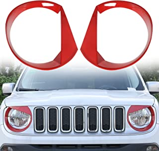 RT-TCZ Front Light Cover Angry Bird Headlight Bezels Cover ABS Trim For 2015 2016 2017 Jeep Renegade--2PCS (Red) - coolthings.us