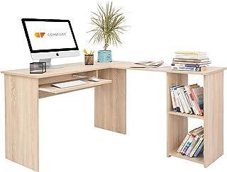 COMIFORT Bureau d'Angle - Bureau avec Étagère Intégrée, Structure Robuste, Style Moderne et Minimaliste, 2 Grandes Niches ...