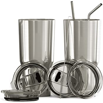 2 Pack 30 oz Tumbler Stainless Steel Double Wall Insulated with Lid 10 Straw Set