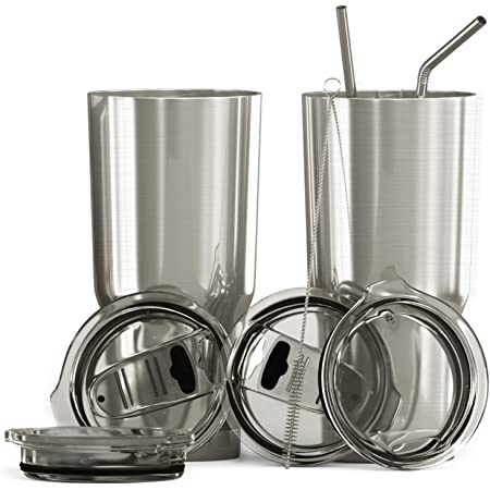 Bluepeak Double Wall Stainless Steel Insulated Tumbler Set, 2-Pack, Includes Sipping Lids, Spill-Proof Sliding Lids, Straws, Cleaning Brush & Gift Box (30oz, Silver)