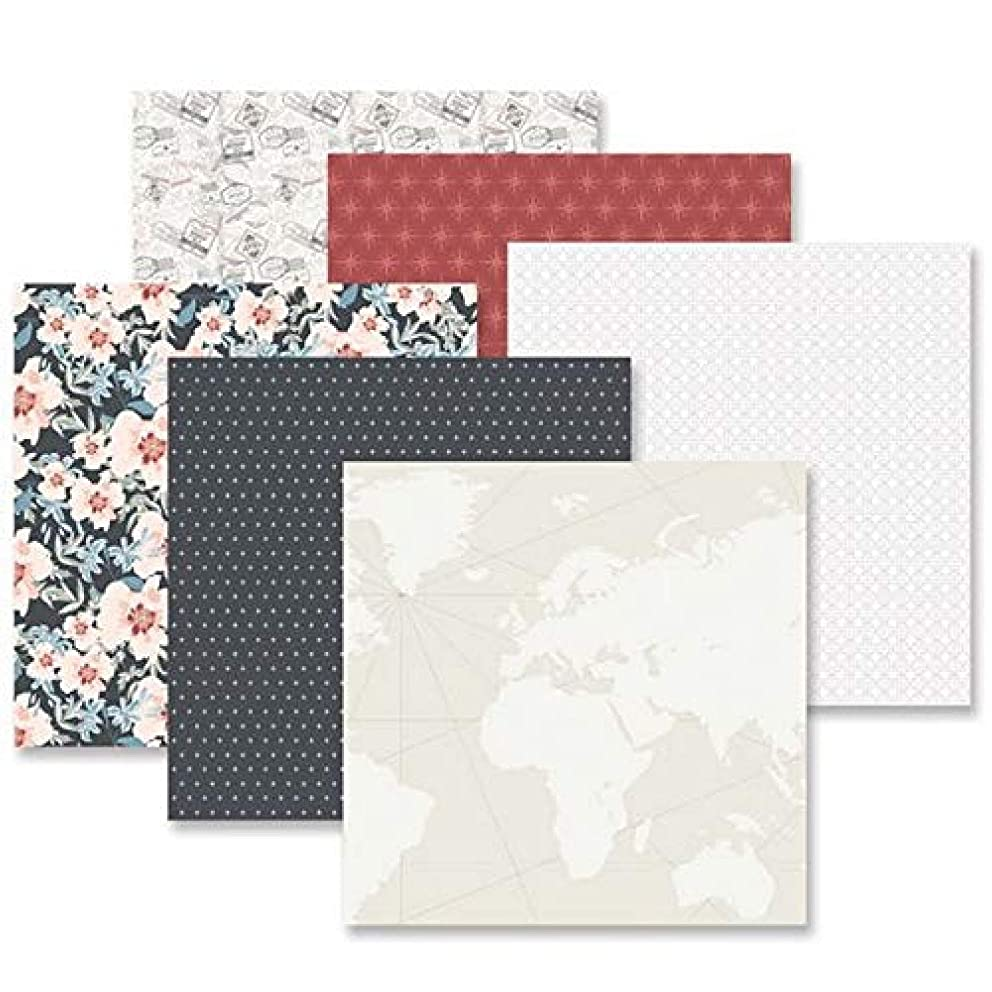 Travel Log Decorative Paper Pack by Creative Memories 12 Sheets of Double-Sided 12x12 Scrapbook Paper