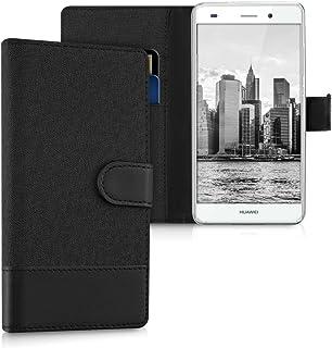 kwmobile Funda Compatible con Huawei P8 Lite (2015) - Carcasa de Tela y Cuero sintético Tarjetero Antracita/Negro