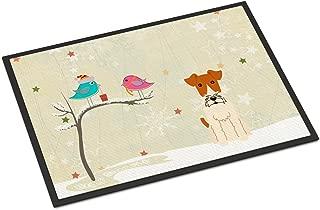 Caroline's Treasures Christmas Presents between Friends Wire Fox Terrier Indoor or Outdoor Mat 18x27 BB2573MAT 18 x 27