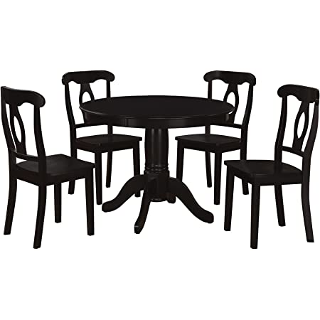 Amazon Com Aubrey 5 Piece Traditional Height Pedestal Dining Set Table Chair Sets
