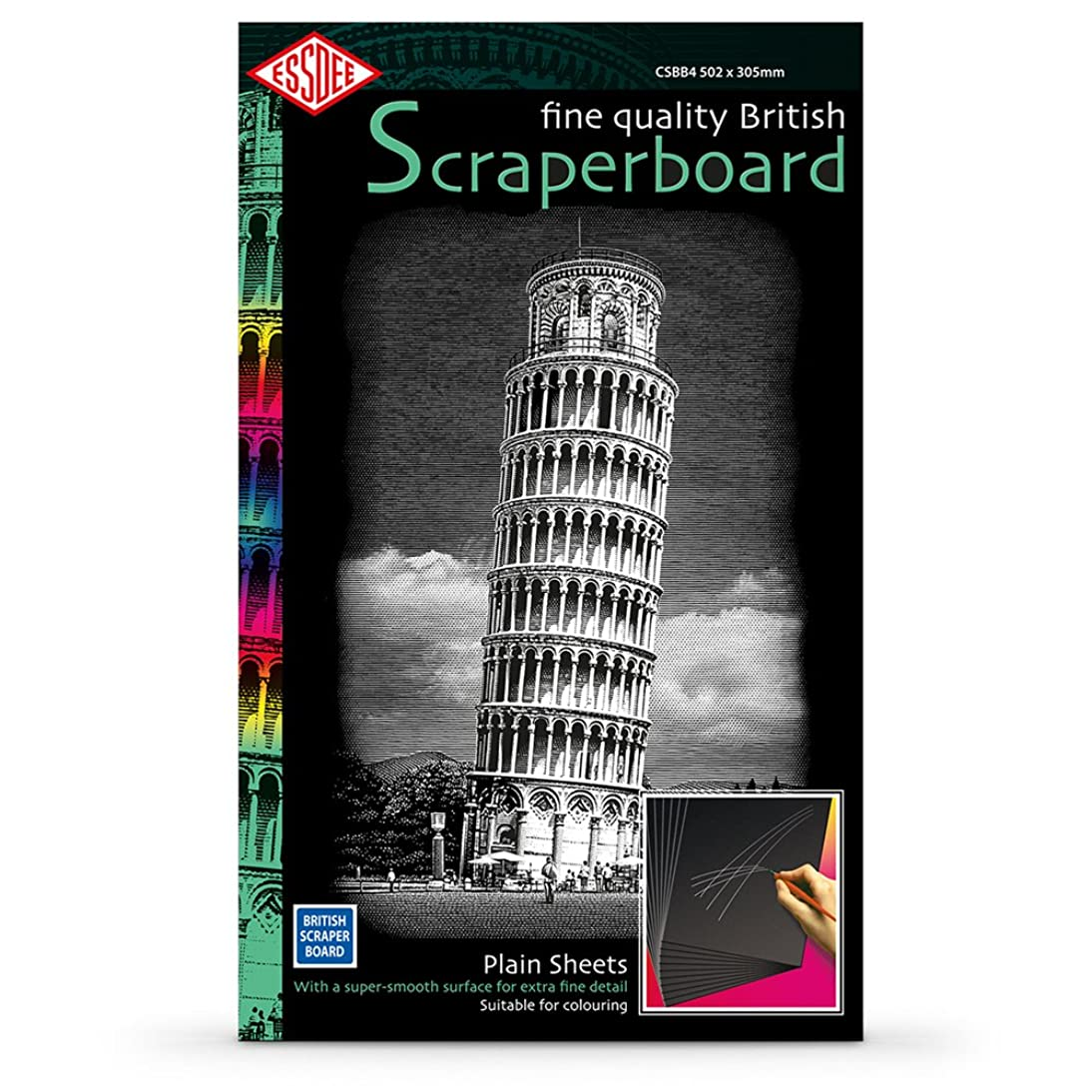 Essdee Scraperboard Black Coated White: 502x305mm Pack Of 10 Sheets