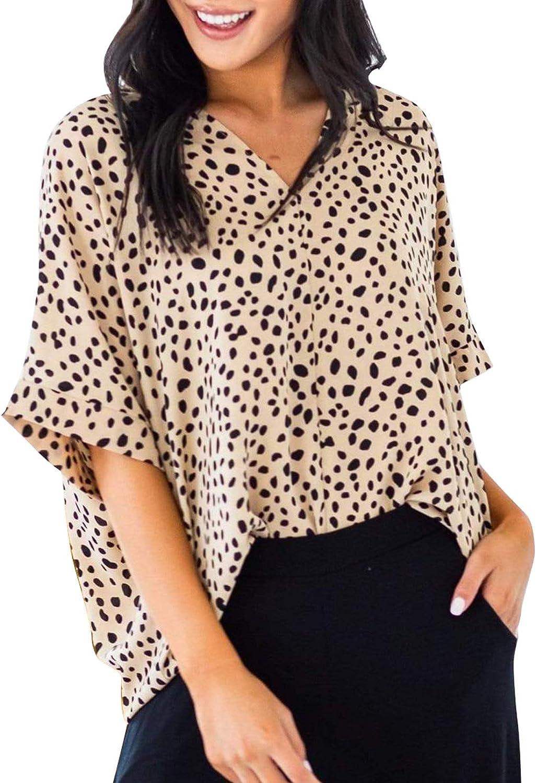 Ecrocoo Women Casual Leopard Print T-Shirt Sexy V Neck Short Sleeve Blouses Oversized Short Sleeve Tee Tops