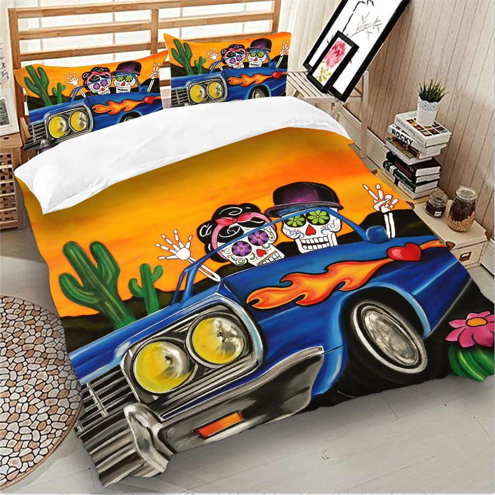 """Halloween Car Skull Bedding Duvet Cover Set Queen 3 Pieces Comforter Cover with 2 Pillow Shams Soft Microfiber Bedding Duvet Cover with Zipper Closurer Gifts for Kids Queen 90""""x 90"""" Gothic Bedding"""