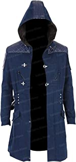 Infinite-Shop Blue Hooded Cotton Trench Coat