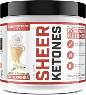 High Potency BHB Salts ~ Exogenous Ketones Formulated to Burn Fat, Boost Energy & Jumpstart Ketosis Fast | Vanilla Flavor Beta Hydroxybutyrates | Sheer Strength Labs, 9.74 oz (276g)