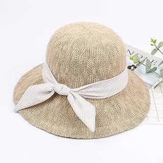 2019 Womens Hats Caps Foldable Straw Hat Woman's Fisherman Hat Female Spring Summer Sun Visor Sun Hat (Color : Beige, Size : Adjustable)