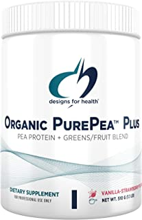 Designs for Health Organic PurePea Plus with Greens - Vanilla-Strawberry Pea Protein Powder with 18g Vegan Protein + Alkal...