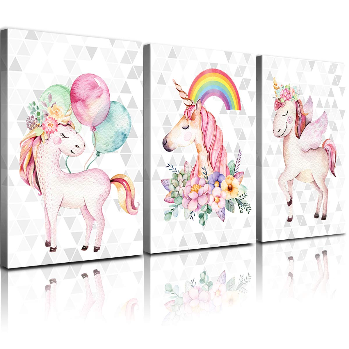 Amazon Com Yoooahu Wall Art For Kids Room Unicorns Canvas Bedroom Wall Decor Pink Rainbow Balloon Pictures Bathroom Living Room Poster Funny Cute Nursery Girls Children S Home Decoration Frame 3 Pcs 12x16 Home