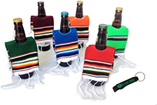 Mexican Beer Bottle Serape Ponchos - 6 Pack with Keychain Bottle Opener