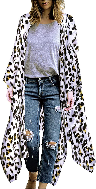 Women's Lightweight Open Cover Up Sheer Chiffon Blouse Flowy Loose Tops Kimono Floral Print Long Cardigan