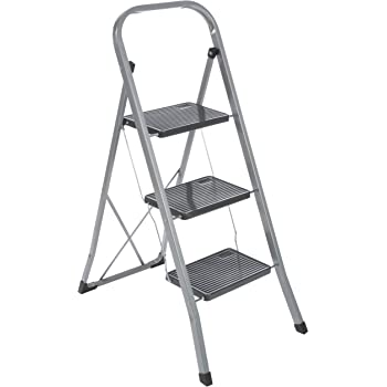 axentia Escalera Plegable con 3 Peldaños, Acero, Negro y Plateado, 46x71x104 cm: Amazon.es: Hogar
