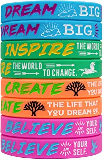 Sainstone 4-Pack Silicone Motivational Wristbands, Rubber Inspirational Quote Bracelets - Dream, Inspire, Create, Believe for Kids Boys & Girls Scout Birthday Party Cheer Gifts Supplies Favors Color