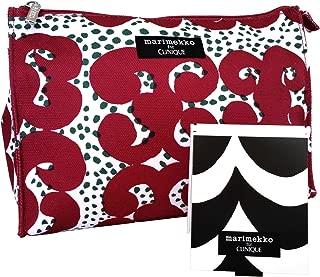 Clinique Promotional Bag for Cosmetics, Makeup, Toiletries, Travel (Marimekko Crimson Tarha Print + Mirror)