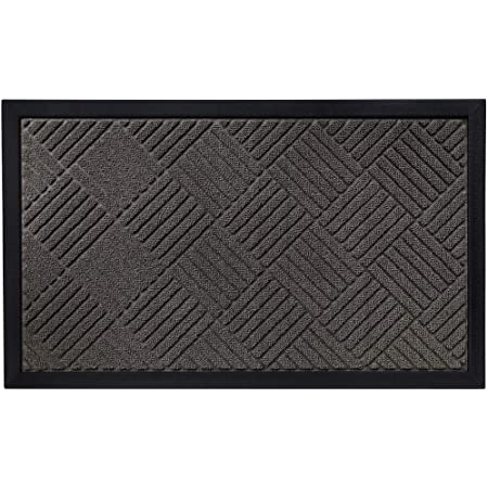 Gorilla Grip Durable Natural Rubber Door Mat, Waterproof, Low Profile, Heavy Duty Welcome Doormat for Indoor and Outdoor, Easy Clean, Rug Mats for Entry, Patio, Busy Areas, 17x29, Gray Diamond